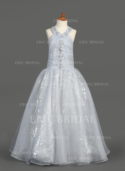 Chic Halter A-Line/Princess Flower Girl Dresses Floor-length Organza/Sequined Sleeveless (010007389)