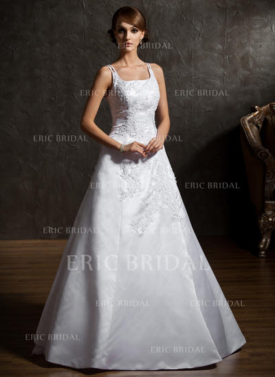 Flattering Square A-Line/Princess Wedding Dresses Floor-Length Satin Organza Sleeveless (002211055)