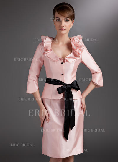 Sheath/Column Taffeta 3/4 Sleeves V-neck Knee-Length Zipper Up Mother of the Bride Dresses (008005651)