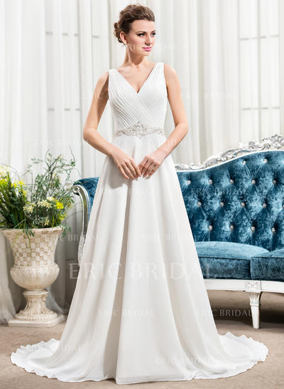 A-Line/Princess Sweetheart Court Train Wedding Dresses With Ruffle Beading Sequins (002210581)