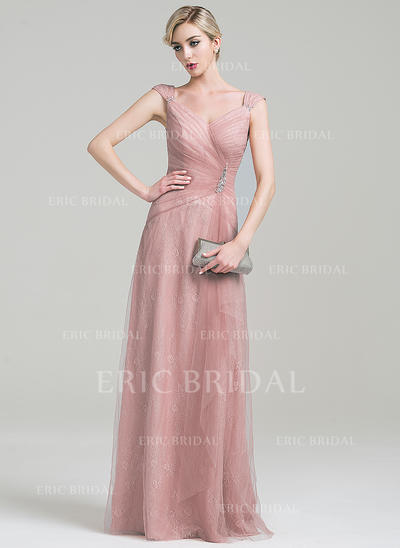 A-Line/Princess Tulle Lace Sleeveless V-neck Floor-Length Zipper Up Mother of the Bride Dresses (008085304)