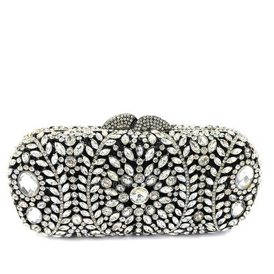 Clutches/Luxury Clutches Wedding/Ceremony & Party/Casual & Shopping Crystal/ Rhinestone/Alloy Kiss lock closure Gorgeous Clutches & Evening Bags (012186135)