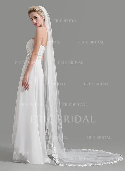 Cathedral Bridal Veils Tulle One-tier Oval/Drop Veil With Lace Applique Edge Wedding Veils (006151943)