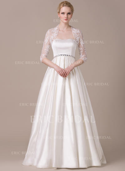 A-Line/Princess Sweetheart Floor-Length Wedding Dresses With Ruffle Beading (002210565)