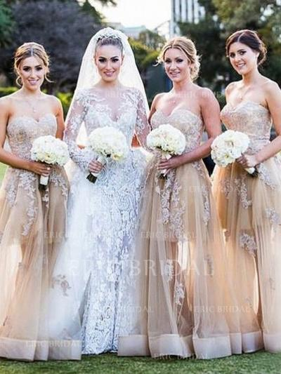 A-Line/Princess Sweetheart Floor-Length Bridesmaid Dresses With Appliques Lace (007145008)