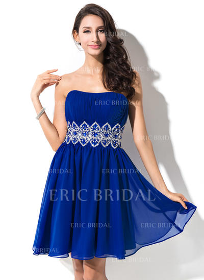 Empire Sweetheart Short/Mini Homecoming Dresses With Ruffle Beading Sequins (022214020)
