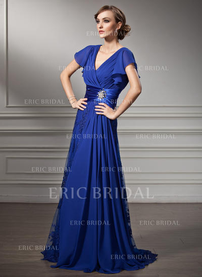 A-Line/Princess Chiffon Lace Short Sleeves V-neck Sweep Train Zipper Up Mother of the Bride Dresses (008005755)