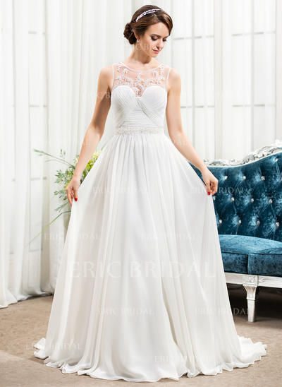 Stunning Scoop A-Line/Princess Wedding Dresses Sweep Train Chiffon Sleeveless (002210600)