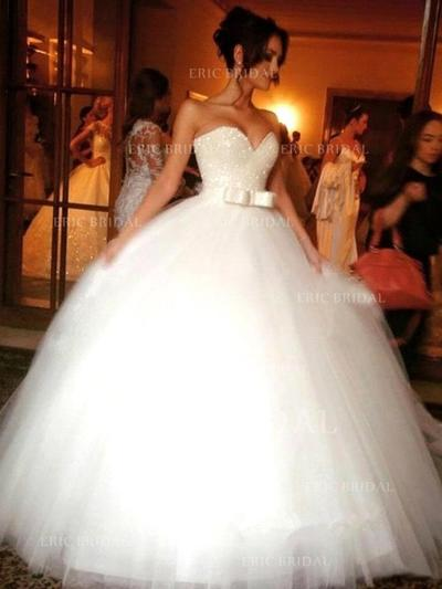 Ball-Gown Sweetheart Floor-Length Wedding Dresses With Beading Sequins Bow(s) (002144846)