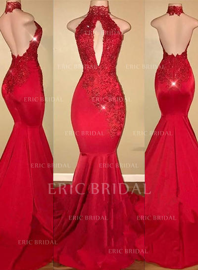 Trumpet/Mermaid Halter Sweep Train Prom Dresses With Appliques Lace (018218327)
