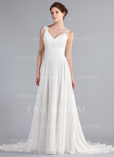 A-Line/Princess Sweetheart Court Train Wedding Dresses With Ruffle Beading Appliques Lace (002196853)