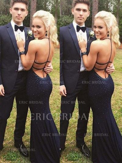 Sheath/Column Jersey Prom Dresses Beading Halter Sleeveless Sweep Train (018210319)