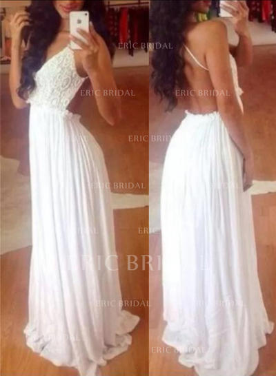 A-Line/Princess Halter Floor-Length Prom Dresses With Lace (018212214)