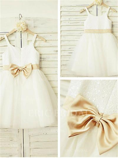 A-Line/Princess Scoop Neck Knee-length With Bow(s) Tulle Flower Girl Dresses (010211942)