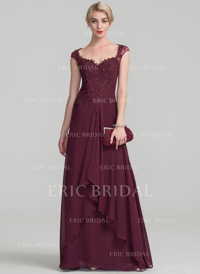 A-Line/Princess Sweetheart Floor-Length Chiffon Lace Evening Dress With Beading Sequins Cascading Ruffles (017131490)