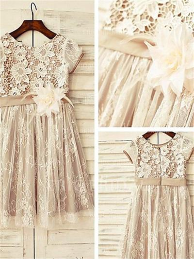 A-Line/Princess Scoop Neck Knee-length With Flower(s) Lace Flower Girl Dresses (010211978)