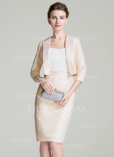 Sheath/Column Chiffon Lace Sleeveless Scoop Neck Knee-Length Zipper Up Mother of the Bride Dresses (008211130)