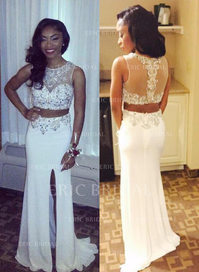 A-Line/Princess Scoop Neck Sweep Train Prom Dresses With Beading (018212217)