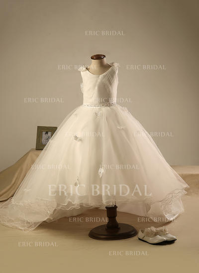 Ball Gown Scoop Neck Knee-length With Beading/Pleated Organza Flower Girl Dresses (010211652)