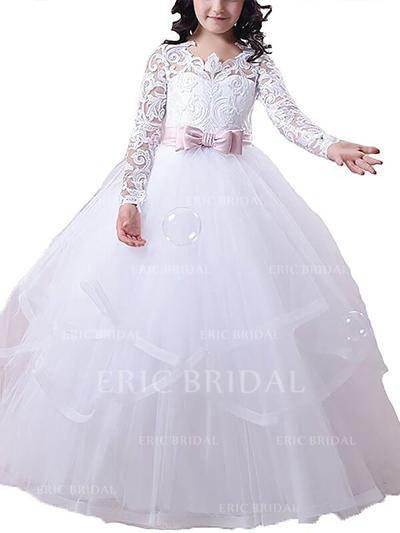 Ball Gown Scoop Neck Floor-length With Sash/Appliques Tulle Flower Girl Dresses (010211735)
