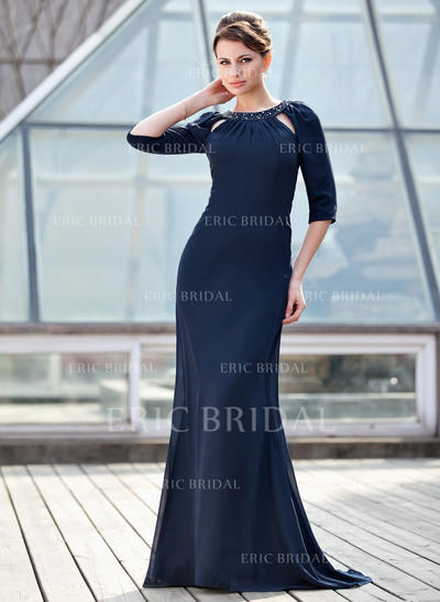 Trumpet/Mermaid Chiffon 1/2 Sleeves Scoop Neck Sweep Train Zipper Up Mother of the Bride Dresses (008211078)