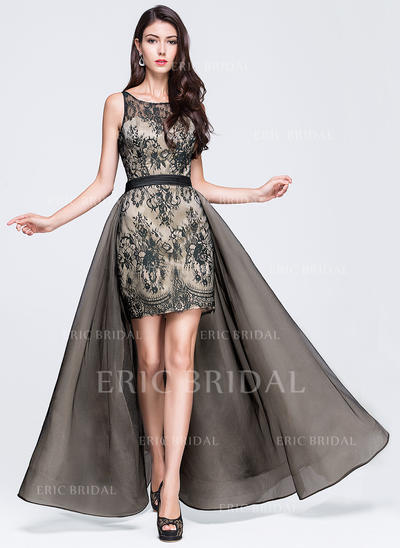 A-Line/Princess Tulle Lace Prom Dresses Ruffle Scoop Neck Sleeveless Floor-Length Detachable (018070378)