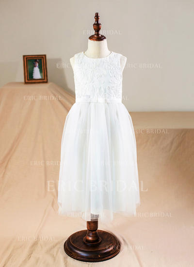 A-Line/Princess Scoop Neck Knee-length Tulle/Lace Sleeveless Flower Girl Dresses (010211647)