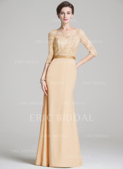 Trumpet/Mermaid Chiffon Lace 1/2 Sleeves Scoop Neck Floor-Length Zipper Up Mother of the Bride Dresses (008211530)