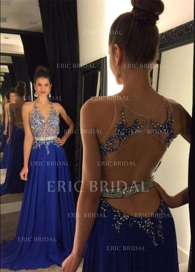 A-Line/Princess Chiffon Prom Dresses Lace Beading Scoop Neck Sleeveless Court Train (018148513)