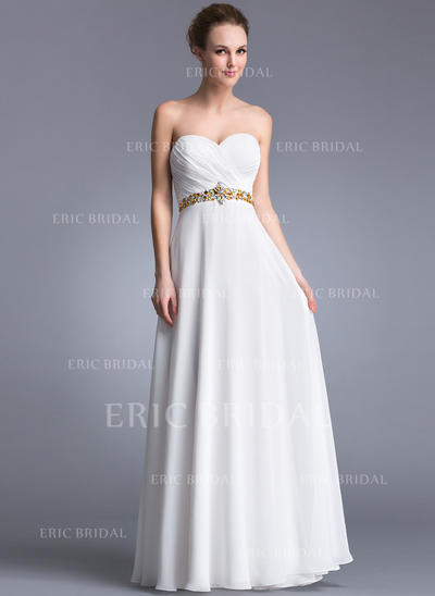 A-Line/Princess Sweetheart Floor-Length Prom Dresses With Ruffle Beading (018041058)