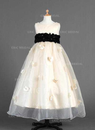 Stunning Scoop Neck Empire Flower Girl Dresses Ankle-length Organza/Charmeuse Sleeveless (010014654)