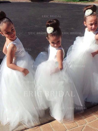Ball Gown Scoop Neck Floor-length With Pleated Tulle Flower Girl Dresses (010211741)