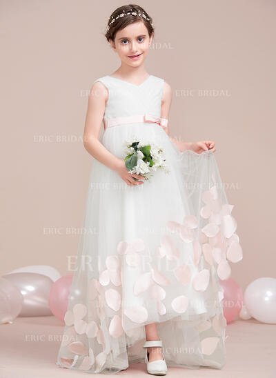 A-Line/Princess Asymmetrical Flower Girl Dress - Tulle Sleeveless V-neck With Ruffles/Appliques/Bow(s) (010115810)