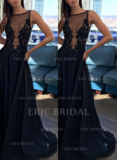 A-Line/Princess Sweep Train Prom Dresses Scoop Neck Tulle Sleeveless (018145959)