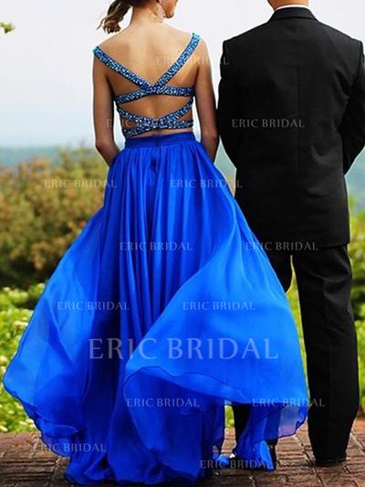A-Line/Princess Sweetheart Floor-Length Evening Dresses With Beading (017210881)