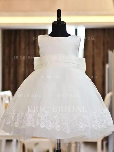Ball Gown Scoop Neck Knee-length With Bow(s) Satin/Tulle Flower Girl Dresses (010211854)