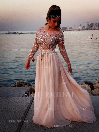 A-Line/Princess Sweep Train Prom Dresses Scoop Neck Chiffon Long Sleeves (018145844)