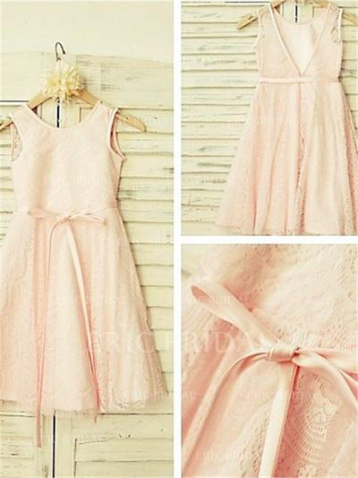 A-Line/Princess Scoop Neck Tea-length With Sash Lace Flower Girl Dresses (010211991)