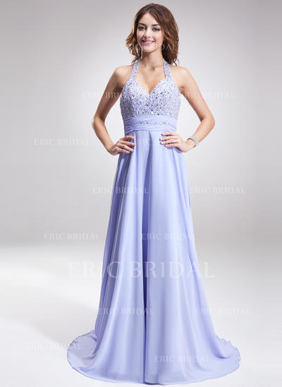 A-Line/Princess Halter Sweep Train Evening Dresses With Ruffle Beading (017016877)
