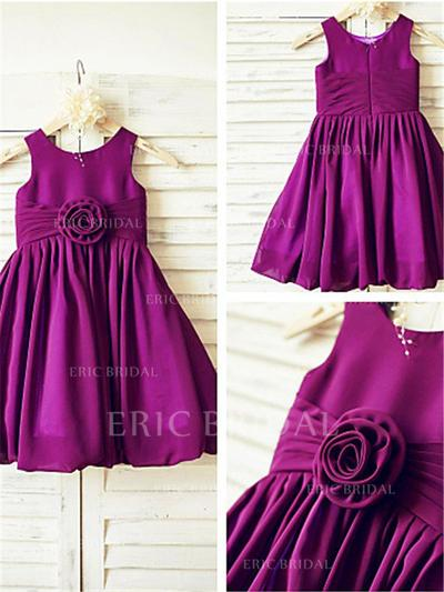 A-Line/Princess Scoop Neck Knee-length With Ruffles/Pleated Taffeta Flower Girl Dresses (010212010)