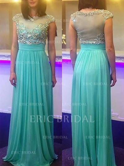 A-Line/Princess Chiffon Prom Dresses Beading Scoop Neck Sleeveless Sweep Train (018148481)