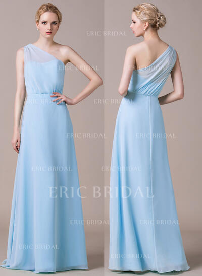 A-Line/Princess One-Shoulder Floor-Length Chiffon Bridesmaid Dress With Ruffle (007059452)