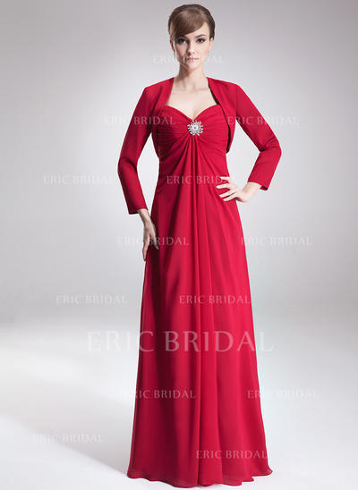 Empire Sweetheart Floor-Length Mother of the Bride Dresses With Ruffle Crystal Brooch (008002223)