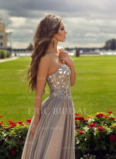 A-Line/Princess Sweetheart Floor-Length Prom Dresses With Beading (018145888)