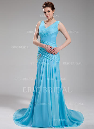 A-Line/Princess V-neck Court Train Evening Dresses With Ruffle Beading (017019735)