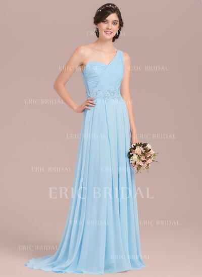 A-Line/Princess One-Shoulder Sweep Train Chiffon Bridesmaid Dress With Appliques Lace Sequins (007126438)