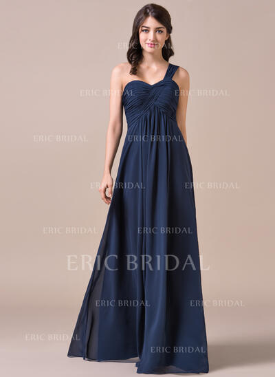 Empire One-Shoulder Floor-Length Chiffon Prom Dresses With Ruffle (018112704)