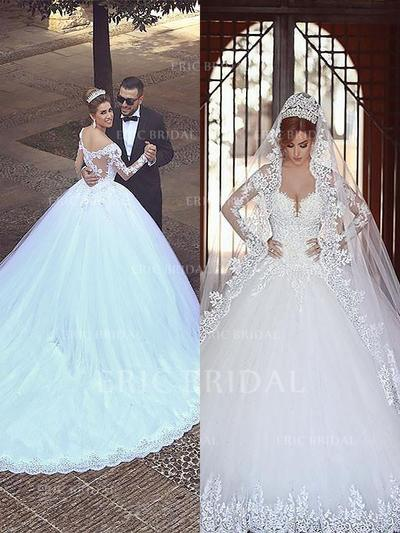 Ball-Gown Tulle Long Sleeves Off-The-Shoulder Court Train Wedding Dresses (002147999)