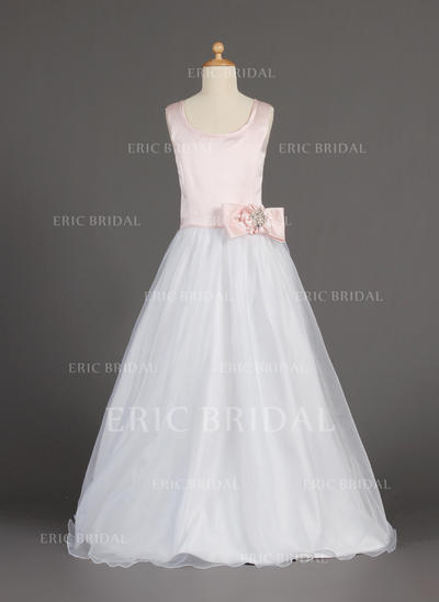 Princess Scoop Neck A-Line/Princess Flower Girl Dresses Floor-length Organza/Satin Sleeveless (010002160)