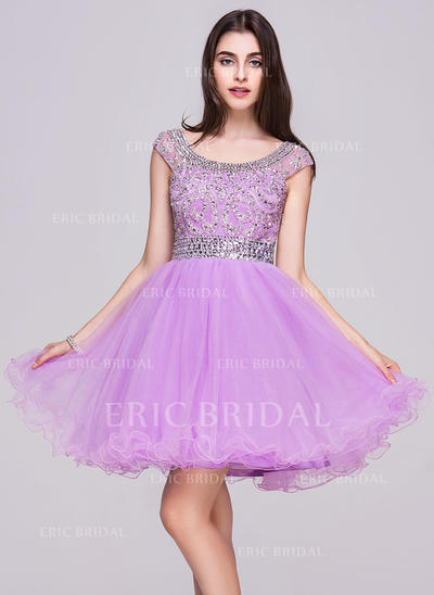 A-Line/Princess Scoop Neck Short/Mini Tulle Homecoming Dresses With Beading Sequins (022214045)